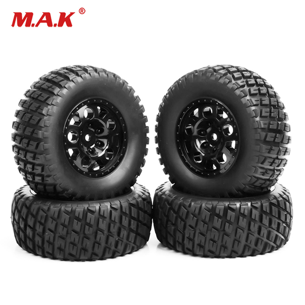 4Pcs RC 1:10 Short Course Truck Tires and Wheel 12mm Hex For TRAXXAS SlASH Car Rim Tires 4pcs 1 9 rubber tires