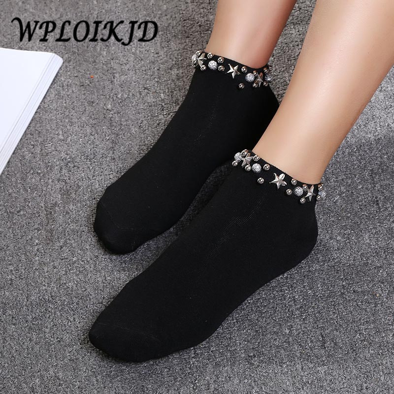 [WPLOIKJD]Japan Handmade Pearl Stars Fishnet Socks Harajuku Hollow Out Women Creative Sox College Style Socks Calcetines Mujer