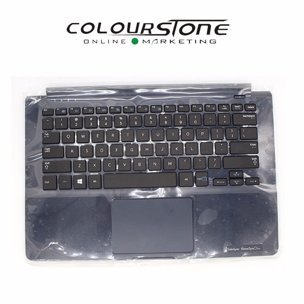 New US keyboard touchpad with Blue Laptop Plamrest upper case C cover for <font><b>Samsung</b></font> <font><b>905S3G</b></font> NP905S3G 915S3G NP915S3G BA75-04673A image