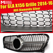 GLA-X156 Diamonds Grills Grille ABS silver Front Mesh Fits For X156 GLA180 200 Bumper Kidney Without Sign 2014-2016