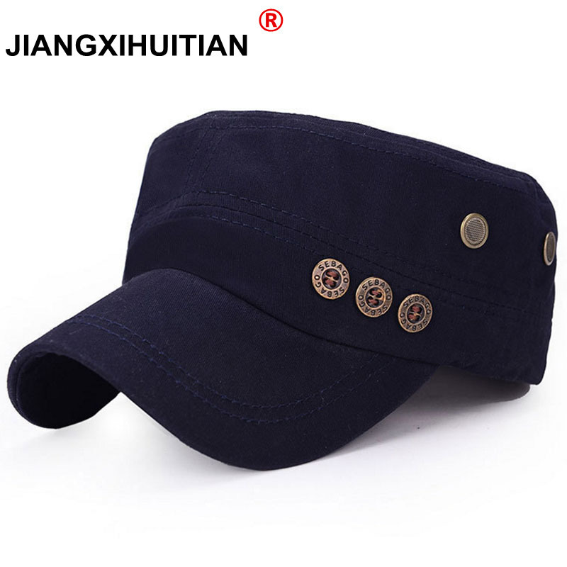 2305ab2e87c 2017 new Classic Service Army Sunscreen Snapback hats Women Men Button Jazz  style Military caps Patrol Casquette flat top hats in Pakistan