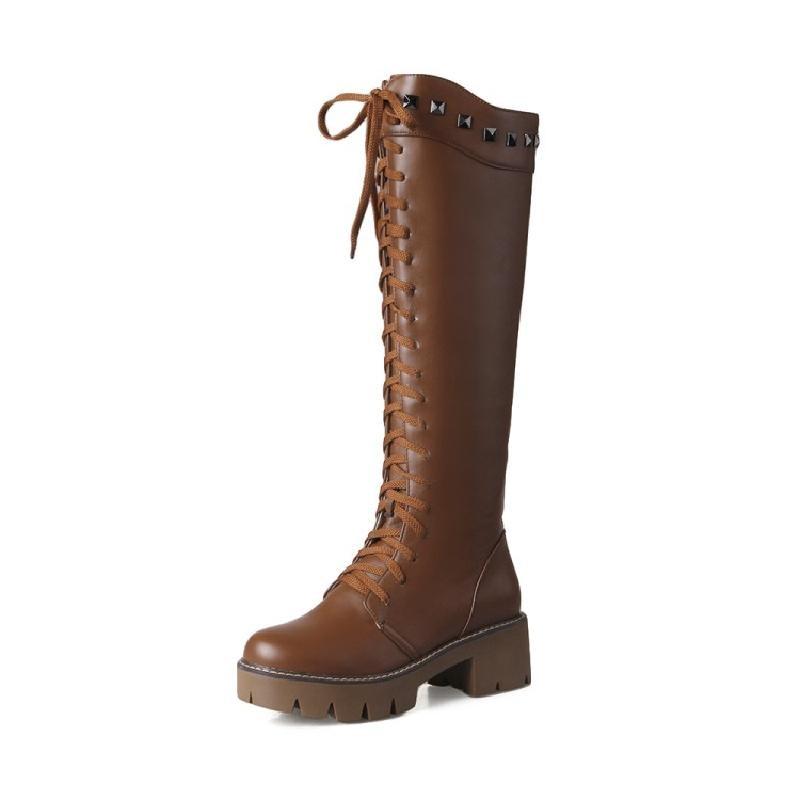 где купить  SALCXO winter boots women knee high boots motorcycle boots PU lace-up black womans boots snow womens shoes free shipping &T66  по лучшей цене