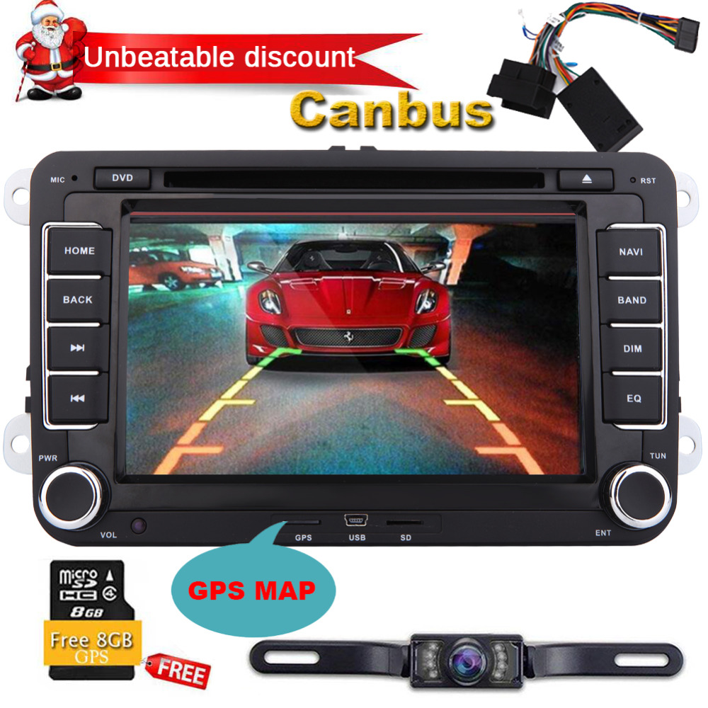 Free Canbus/Rear camera Eincar 2 Din Car Stereo For Volkswagen For Golf For Skoda For Seat For Polo GPS map Cassette Navigation