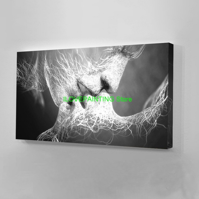 Black Love Kiss Canvas Painting Abstract Print Poster Pictures Home Bedroom Living Room