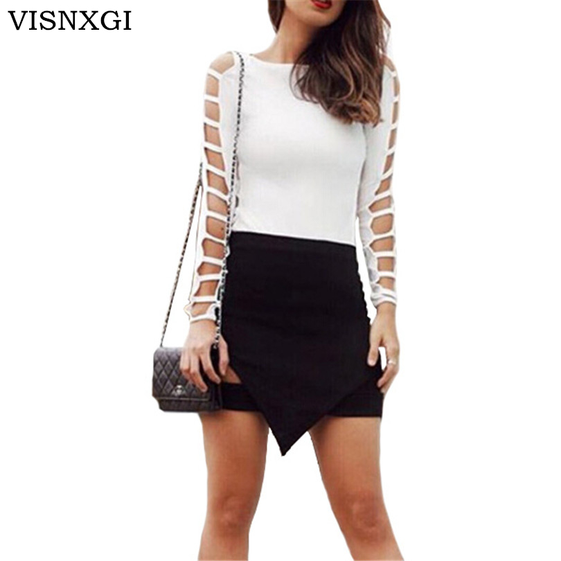 2018 T Shirt Women T-Shirts Full Sleeved Tshirt Woman Grid Hole Tops Crop Top Female White Clothes Mujer Clubwear Plus Size XXL