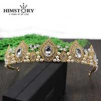 HIMSTORY perles faites à la main strass perle couronne de cheveux de mariage, plumes de paon conçoit accessoire de Tiars de cheveux de mariée