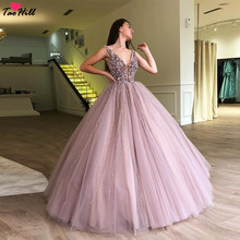 b1ac2b936 TaoHill Ball Gown Beading Pearls Evening Dresses Deep V-neck Dusty Pink Formal  Evening Prom
