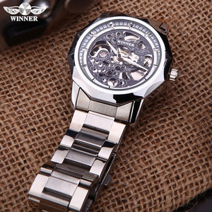 Image 3 - WINNER brand watches men mechanical skeleton wrist watches fashion casual automatic wind watch gold steel band relogio masculino