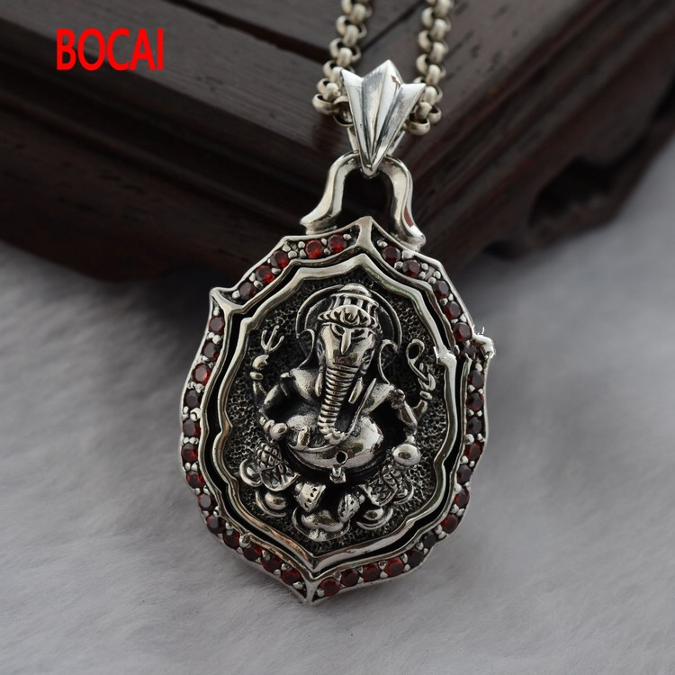925 Sterling Silver Gold hollow lucky Ganesh