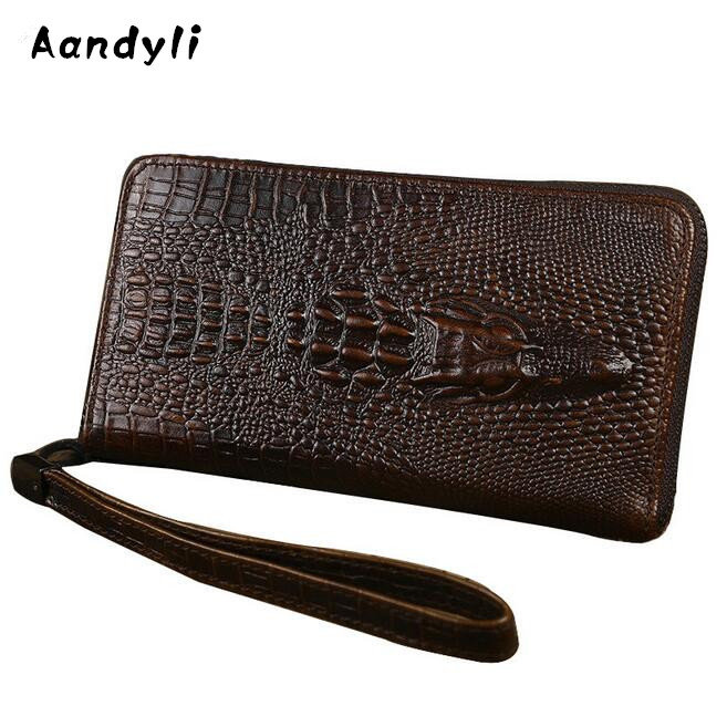 Genuine Leather Men Wallet Leisure Crocodile Grain Men S Hand Bags Mobile Phone Purse