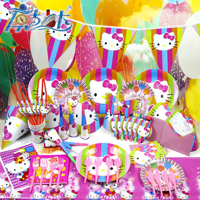 US $20 93 25% OFF|78pcs Kids Birthday Party Decoration Set Birthday Hello  Kitty Theme Party Supplies Baby Birthday Party Pack AW 1609-in Disposable