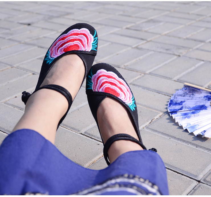 Fashion 2017 Old Peking Cloth Shoes, Chinese Style Totem Flats Mary Janes Embroidery Casual Shoes, Red+Black Women Shoes S189 (43)