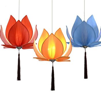 Chinese Style Fabric Lotus Restaurant Pendant Lamp Dining Room Acrylic Hanging Lights Tassels Corridor Balcony Pendant Lamp