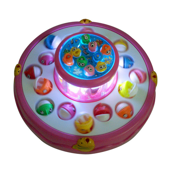 Double-Layer Electric Spinning Fishing Toy With Music Light 4 Magnetic Fishing Rods Baby Bath Toys For Kids Go Fishing Game