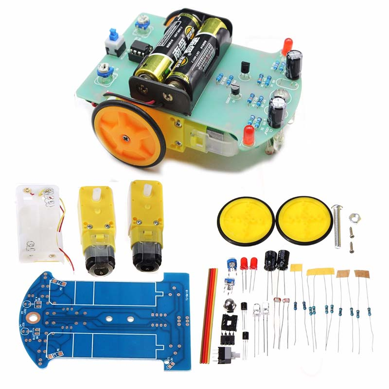 Smart Tracking Robot DIY Kits Car Vehicle Tracking Kit With DC Reduction Motor Robotics Mayitr Electric Components Power Tools cheap d2 1 smart robot car kits tracking car photosensitive robot kits parts for diy electric toy no battery