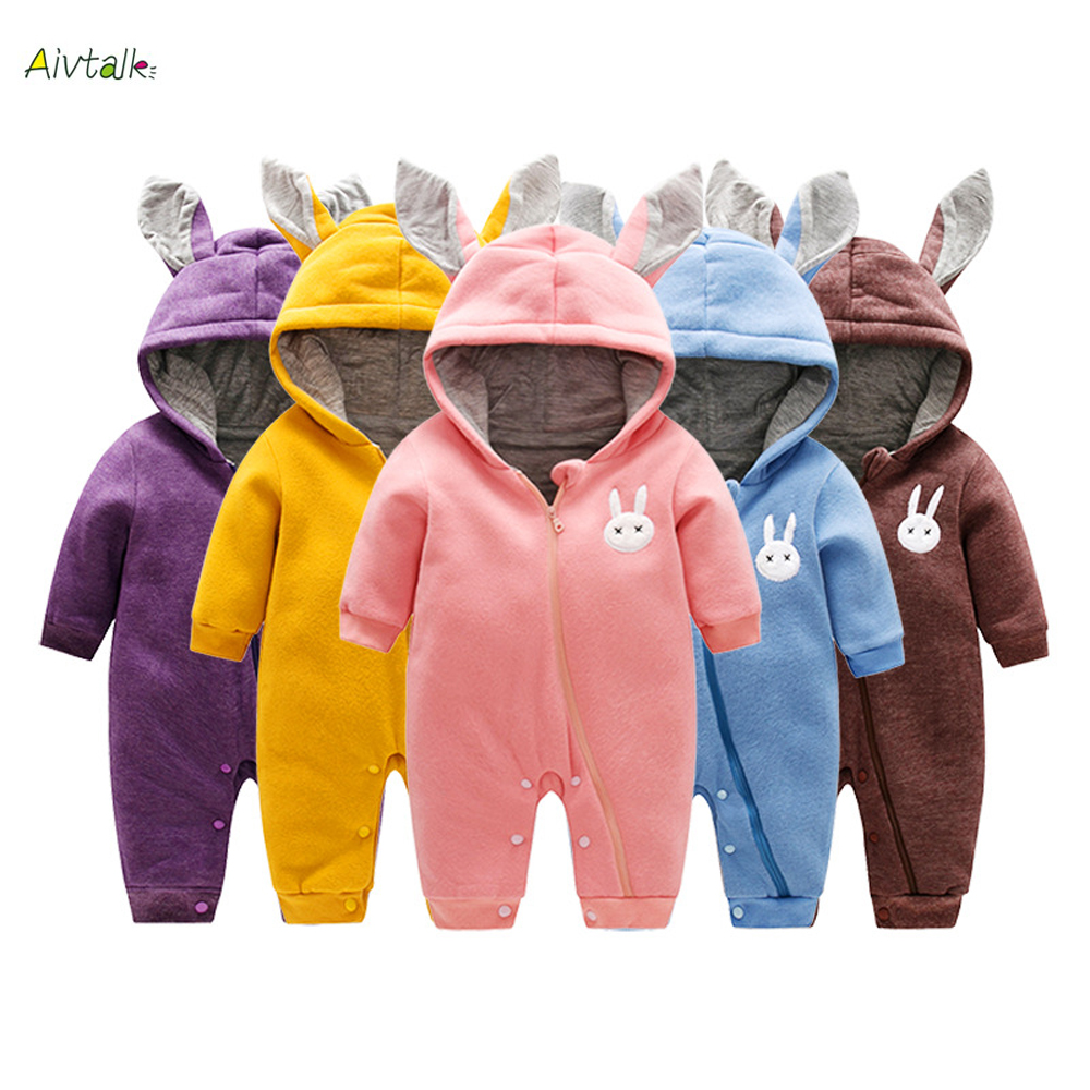 Aivtalk Newborn Baby Rompers Infant Girls Boys Cotton Clothes Cute Bunny Ear Jumpsuit Playsuit Autumn Winter Warm Bebes Rompers christmas newborn cashmere baby rompers infant clothing winter warm thicken cotton baby jumpsuit long sleeve boys girls sweater