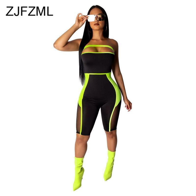 Mesh Splicing Sexy Bodycon Playsuit Streetwear Women Off Shoulder Sleeveless Short   Jumpsuit   Summer Strapless One Piece Overall