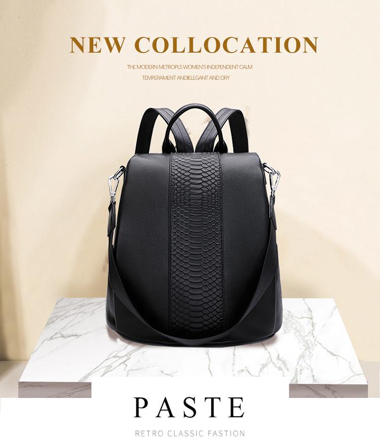 d930318b9389 PASTE Anti-theft Design Girl Student Book Bag Genuine Leather Crocodile  Pattern Women Backpack Business OL Travel Bag Black