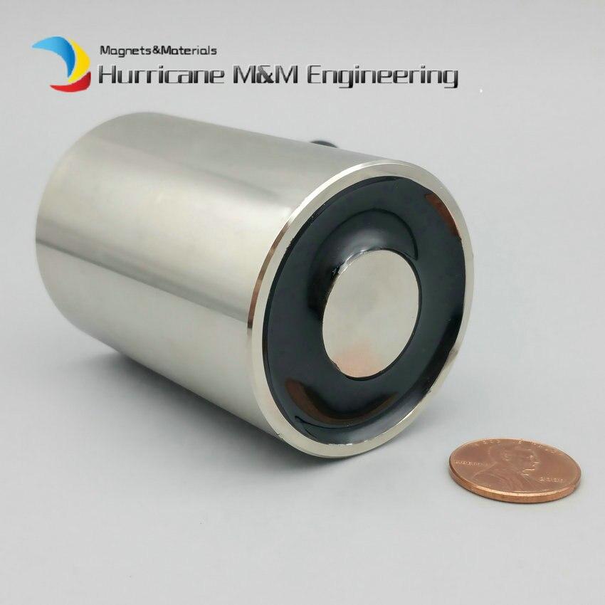 цена на 50KG Pulling Electro Magnet Dia. 45x64 mm Electric Holding Magnet Solenoid DC 12V 24V Input Strong Lifting Magnet Controller