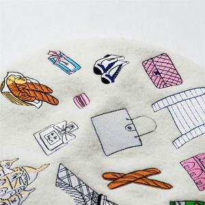 Image 5 - Béret en laine tricoté brodé, motif tour, personnalité, bonnet de peintre, chaud, talons hauts, idéal, cadeau, 2018