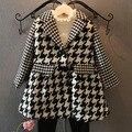 2015 nueva moda otoño invierno de lana pata de gallo abrigo para las niñas ropa caliente Retro niños traje de chaqueta 2 ~ niñas 7 age bebé abrigos