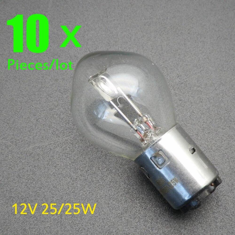 Motorcycle Headlight 10 X 12v 25w For Motorcycle Atv Quad Scooter Headlight Bulb Lamp Ba20d Standard