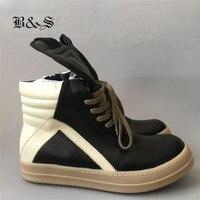 2018s/s Exclusive Black& Street Gum Sole Lace up gBasket Men Luxury Zipper Rock Hip Hop Genuine Leather Boots Flat trainer Shoes