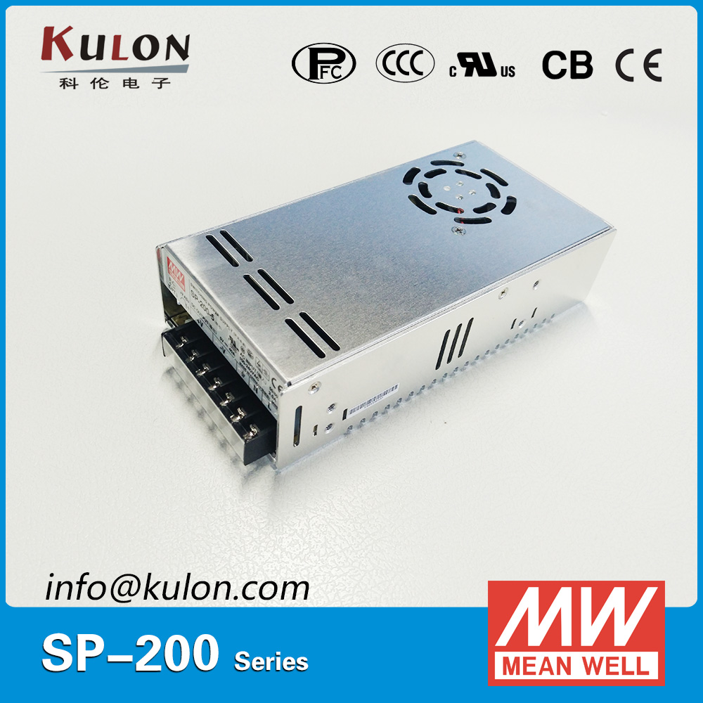Original Mean well SP-200-12 Single Output 200W 12V 16.7A Meanwell LED transformer Power Supply with PFC leading products mean well sp 320 27 27v 11 7a meanwell sp 320 27v 315 9w single output with pfc function power supply