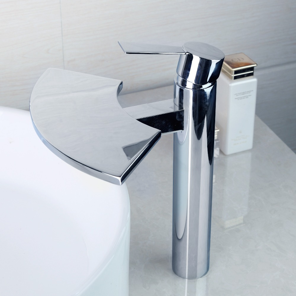 №US Stock OUBONI Bathroom Basin Faucet Waterfall Spout Mixer Taps ...