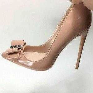 Image 1 - Женские туфли лодочки Keshangjia, брендовые туфли на высоком каблуке с острым носком и бантом