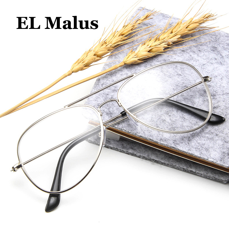 [EL Malus]Myopia Glasses For Women Men Metal Pilot Frame Students Short-sight Rose Gold Black Silver -1 -1.5 -2 -2.5 -3 -3.5 -4
