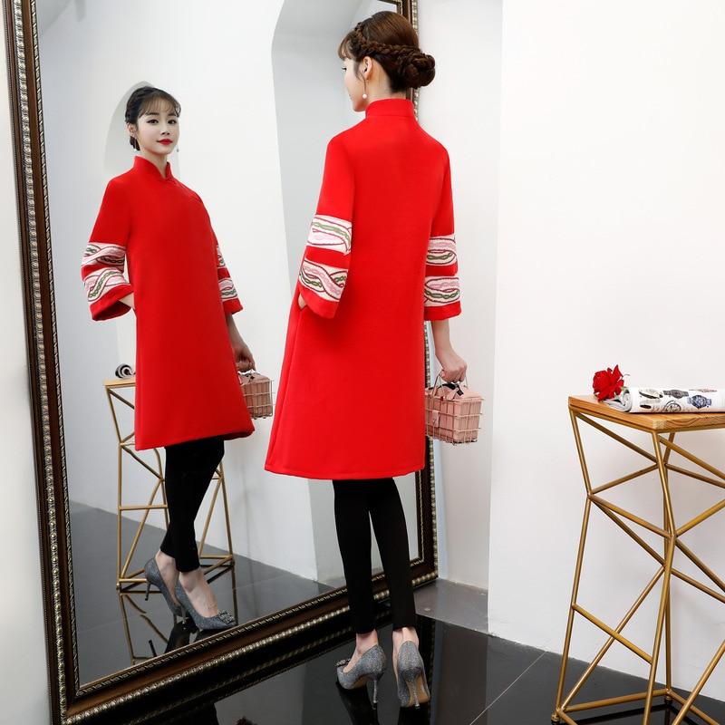 2xl Robe Robes Hiver Qipao Partie 2018 Lady Bouton rouge Style Cheongsam Mode rose Femmes S Longueur Mince Genou Beige De Chinois Lj543qAR