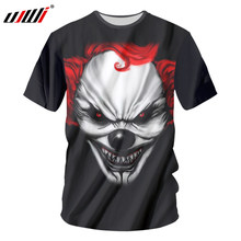 Ujwi Nieuwe Mode 3D Gedrukt Red Haired Clown T-shirts O-hals Korte Mouw Zwarte T-shirts Paar Tops Tees Unisex Grappig kleding(China)
