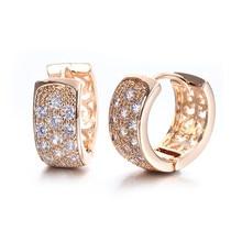 Gold 585 Color Brincos Hoop Earrings For Women Zircon Jewelry Wedding Vintage Boucle D'oreille Aretes Oorbellen Aros QE009