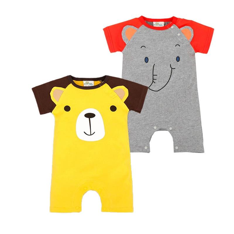 Animal Pajamas Onesie 2016 Summer Cotton Newborn Baby Boy Clothes Brand Cute Panda Elephant Bear Short Sleeve Baby Boys Rompers
