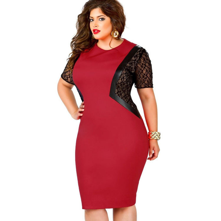 Plus Size Dress XL-XXL Women Sexy Lace Imitation Leather Patchwork Dresses Party Dress Vestidos De Festa Ropa Mujer