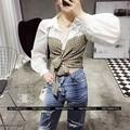 [Twotwinstyle] primavera verão patchwork xadrez amarrar arco cintura alta lanterna longo mangas de camisa mulheres new fashion clothing
