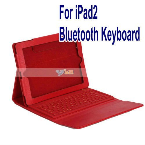 Free Shipping From US  For iPad 2 Folding Leather Case With Bluetooth Keyboard Red-87002155