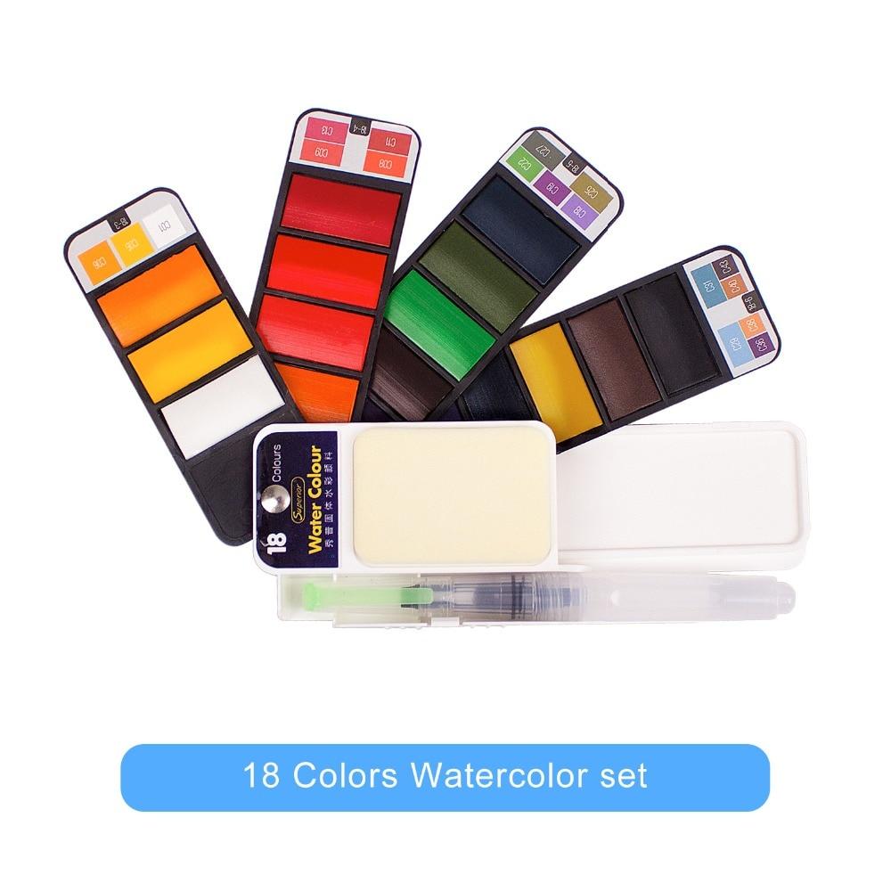 Watercolor Paint Art Supplies Professional Solid Paint for Artist 18 /24 /33/42 Colors Portable Foldable Watercolor Travel Set