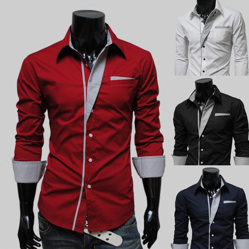 wholesale mens Long Sleeve Clearance Slim Fit Button Front Shirts casual solid shirt boys slim wear males clothing fashion tops ...