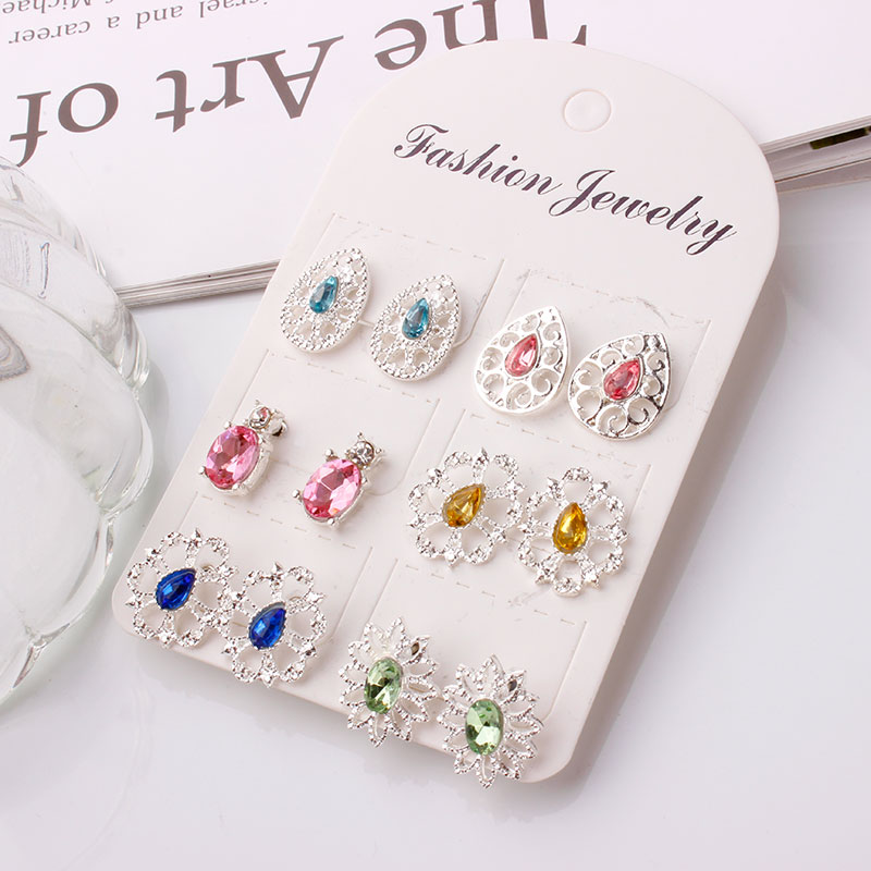 Confident F&u 6 Pairs/set Water Drop & 5 Other Shapes Women Earring Stud Vintage Alloy Colorful Rhinestone Earring Studs Charm For Women Good For Energy And The Spleen