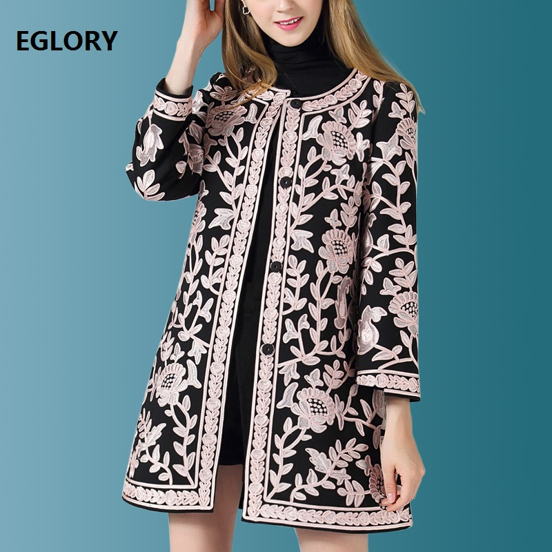 2018 Fashion Plus Size Coats Autumn   Trench   Women Allover Appliques Embroidery Covered Button Wide-waisted Coat Overcoats Winter