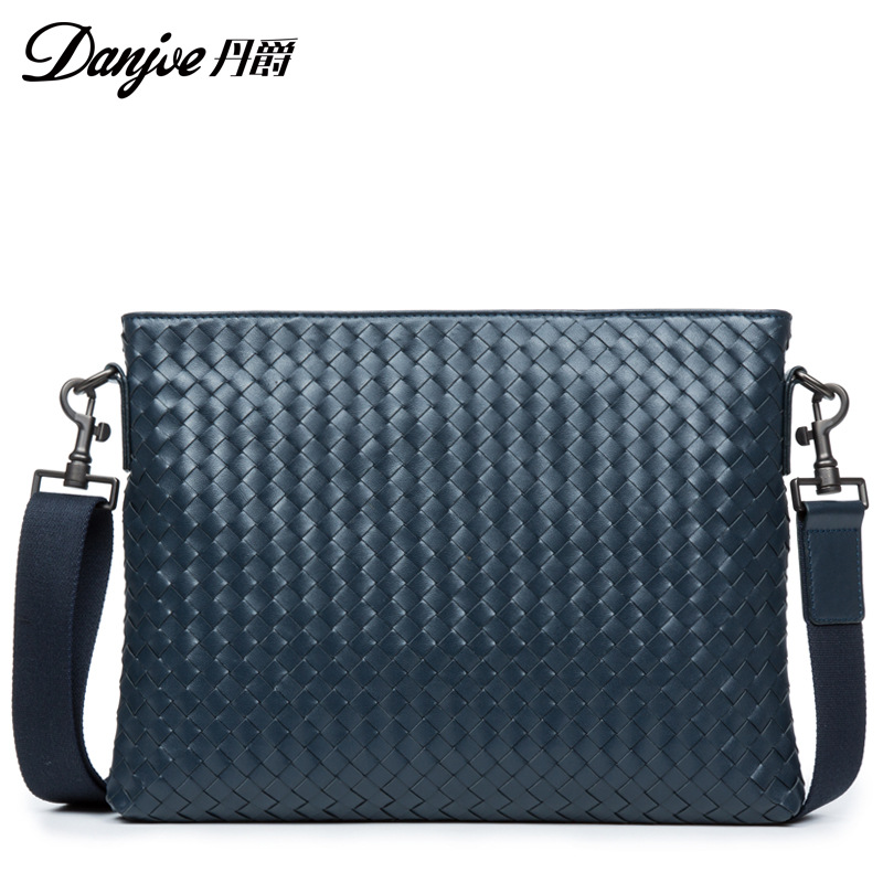 DANJUE 2018 Genuine Leather Male Men Handbags Man Soft Fashion Briefcase Trendy Black Laptop Tote Weave Pattern Computer New Bag цены