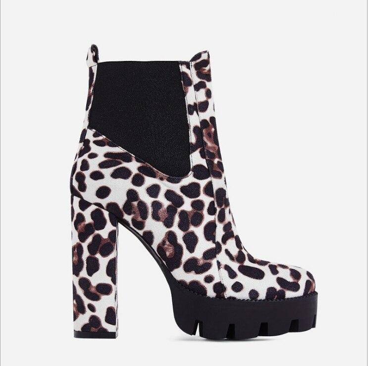 Asumer 2019 nieuwe enkellaars voor vrouwen platform plein hoge hakken schoenen flock Luipaard Print herfst winter laarzen vrouwen