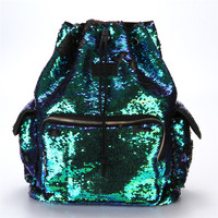 2017 Unique Design Women Female Double Color Sequins Girls School Bag Soft Backpack Fashion Bag High