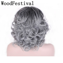 цена на WoodFestival Synthetic Hair Curly Grey Black Wig Short Cosplay Heat Resistant Wigs for Women