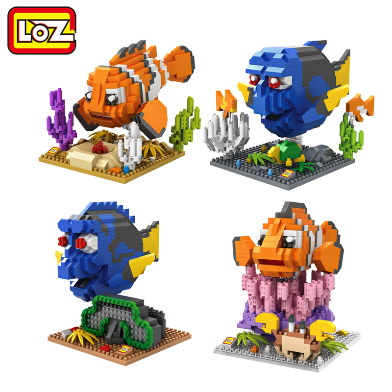LOZ Finding Dory Nemo Figure Building Blocks Toy Clownfish Regal Blue Tang Fish Assemblage Figure Toy Christmas gift 14+ Anime finding dory 36360 в поисках дори фигурка подводного обитателя 4 5 см в ассортименте