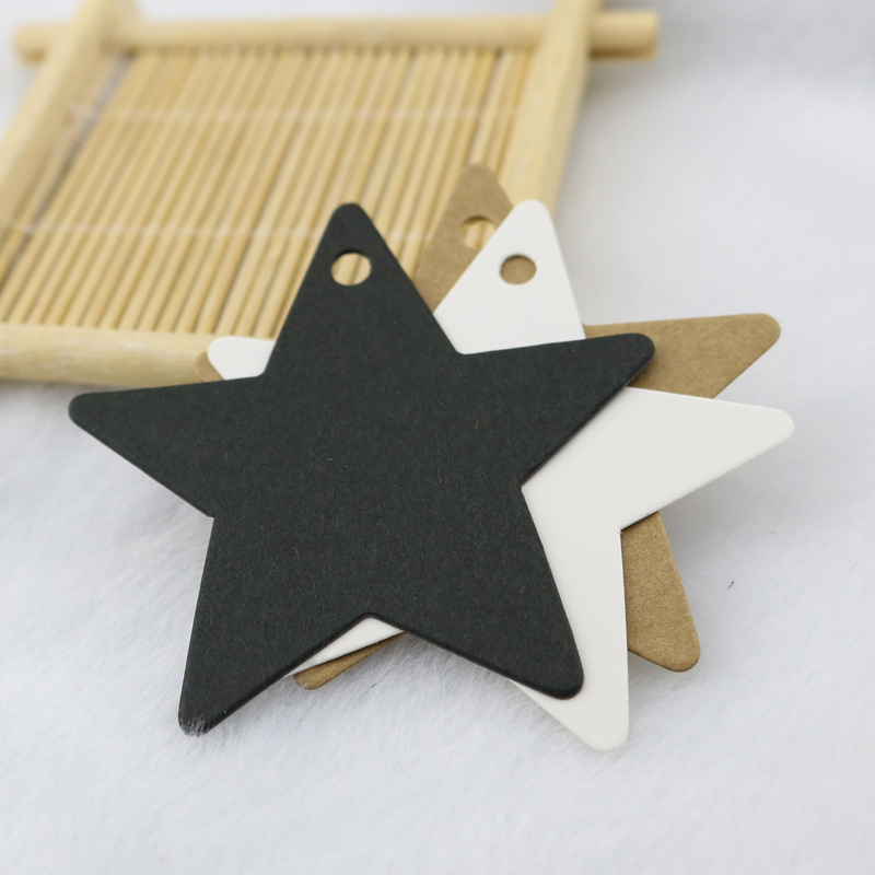 100Pcs 6*6cm Star Shape Handmade Tag Kraft Price Tags For Clothing Hang DIY Gift Christmas Wedding Party