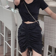 2019 skirts womens Summer Casual Drawstring Pleated Mini Tight Skirt Elastic High Waist Sexy faldas mujer moda 2019 drawstring waist pleated skirt
