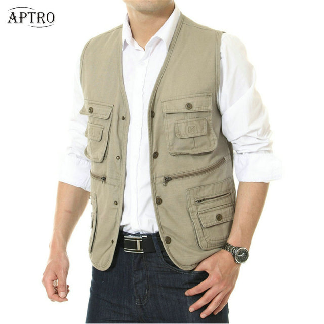 Mens Multi Pocket Vest Sleeveless Travel Photography Safari Vest